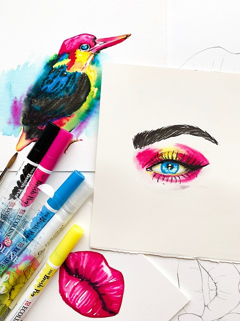 Ecoline Brush Pens tegning av kvinne