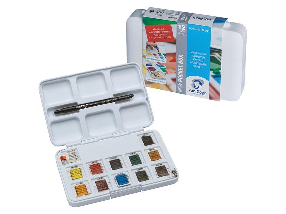 Van Gogh Akvarell - PocketBox - 12 half-pans og pensel no 6 - Tegne.no