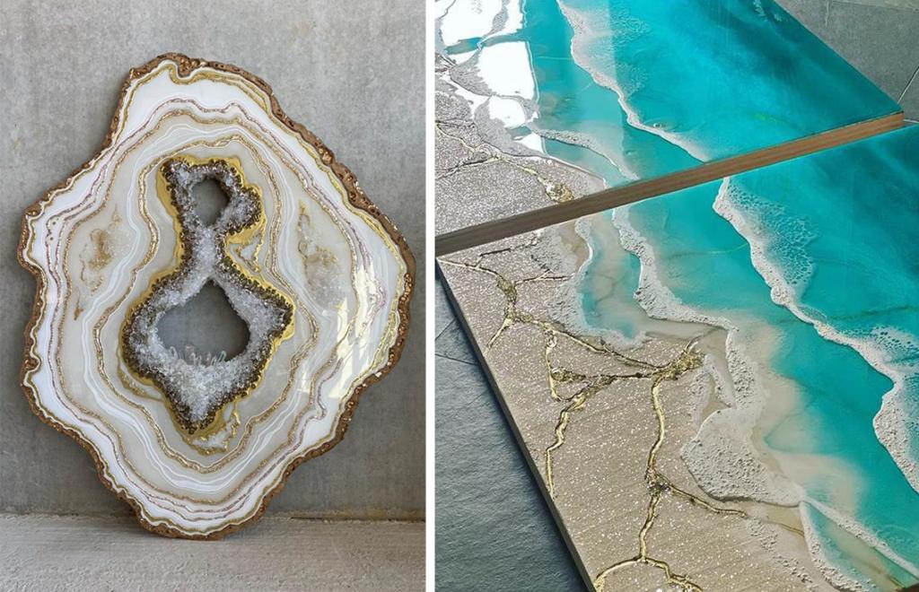Geode og sjø-kunst laget av resin