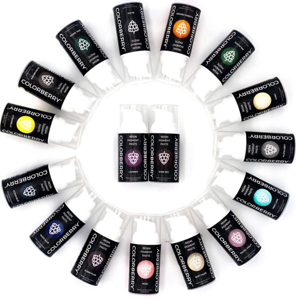 Mange farger med resin pigmentpasta