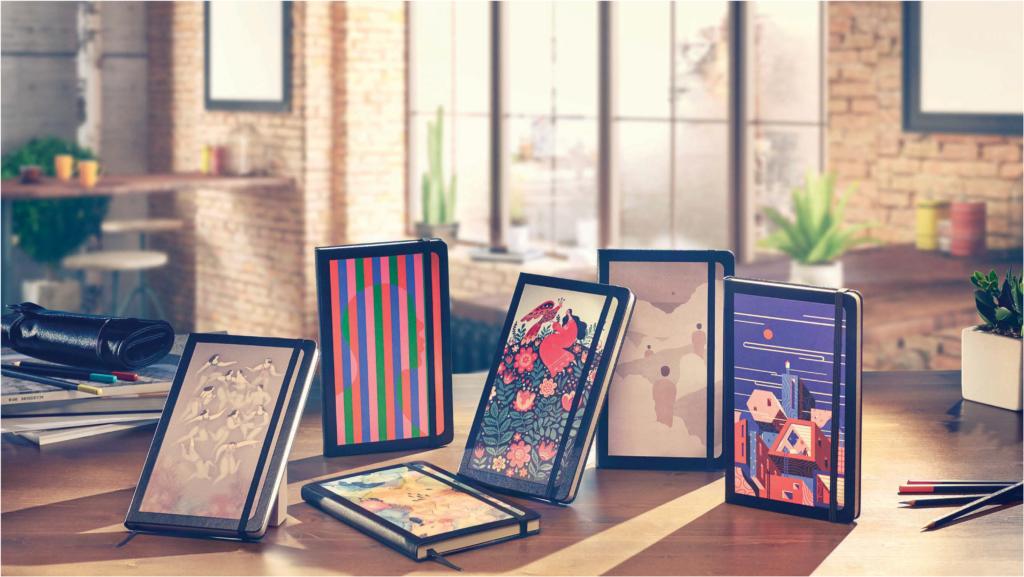 Nydelige Moleskine notatbøker, dekorert av kunstnere